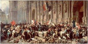 Drapeau rouge et drapeau tricolore