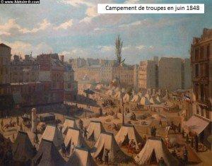 campement de troupes juin 1848